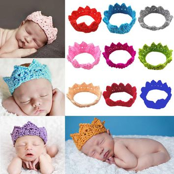 Knitting Crown Newborn Photography Props Cute Baby Caps Soft Baby Knitted Hat Bebe Infant Headband Crochet Girl Hats