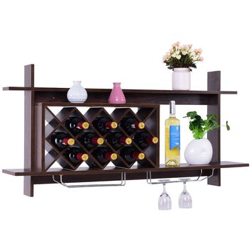 Walnut Wall Mount Holds 10 Wine Rack with Glass Holder Storage Shelf