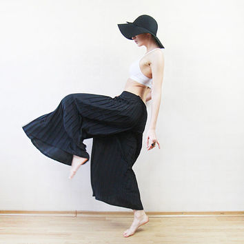 Black accordion pleated wide leg skirt pants