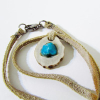 Raw or Natural Turquoise and Deer Antler Slice Necklace,  Suede Cord, Birthday Gift, Leather Mens Bone and Stone Necklace
