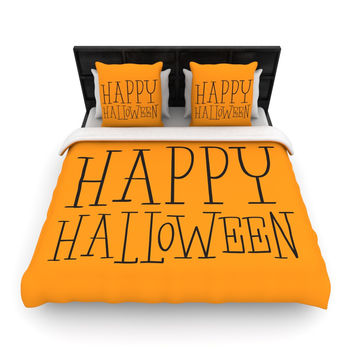 "KESS Original ""Happy Halloween - Orange"" Woven Duvet Cover"