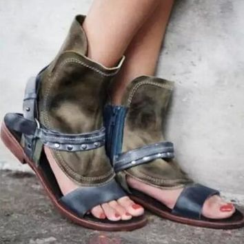 Brown Leather Open Toe Flat Sandals Ankle Buckles Rome Style Sandals