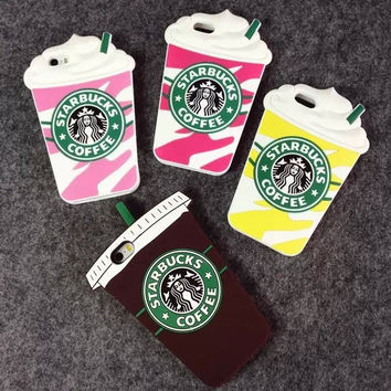 2015 New 3D Cute Starbuck Coffee Cups Soft Silicon Cases Covers Shields Housings Skins for Apple iPhone 4 4S Free Shipping