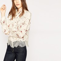 The Kooples United States Official Website - Random Flowers off-white silk shirt
