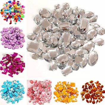 DIY Crystal Acrylic Sew On Rhinestones Mixed Sizes (16 Colors)