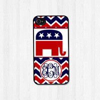 Personalized Phone Case iPhone 5 Case iPhone 5S Case iPhone 4 Case Chevron Republican Monogram Phone Cover Christmas Gift (244)