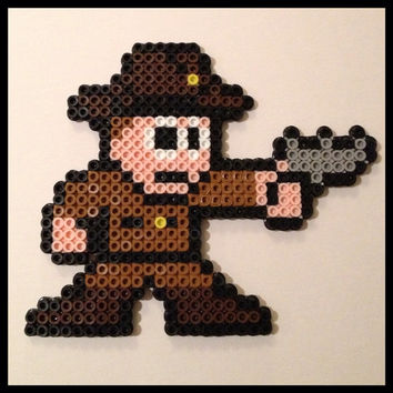 Walking Dead Rick Grimes Perler Pixel Art Magnet or by K8BitHero
