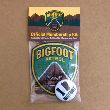 Bigfoot Patrol Membership Kit (Basic): Embroidered Patch, Card, Button/Pin