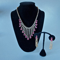 Czech Pink and Clear Rhinestone Fringe Necklace and Earrings Set Demi Parure 1960's
