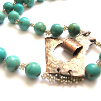 December Birthday, Necklace Genuine Arizona Turquoise and Artisan Copper Clasp, OOAK