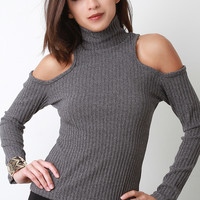 Mettallic Shimmer Open Shoulder Turtleneck Top