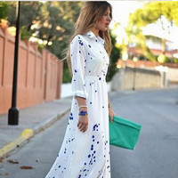 Blue Floral Printed Long Sleeve Button One Piece Dress a11765