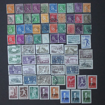 71 Finland Stamp Collection, Vintage European Finnish World Post Postage Rare Scandinavian Stamps