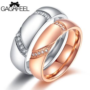 Rings Set Rose Gold Silver Color Stainless Steel Jewelry Romantic Wedding Engagement Lover Couple