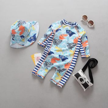 Children Swimwear Baby Toddler Boys One Pieces Swimsuit Bathing Suit Shark Salmon Long Sleeve Swimming Suit UV Sun Protection