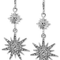 2028 Silver-Tone Crystal Star Drop Earrings