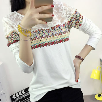 New Autumn Winter Women's Casual Lace Loose Long Sleeve T-Shirt Comfortable Tee Gift 198