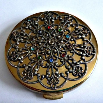 Vintage 40's Filigree Rhinestone Compact 50's Jeweled Ornate Compact Face Powder Vanity Case Art Nouveau Style Compact Colored Rhinestones