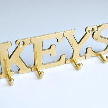Solid Brass KEYS Key Rack Holder Wall Hooks Hanger