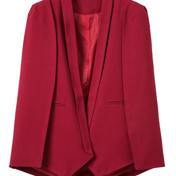 Red Lapel Cape Blazer