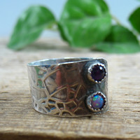 Sterling Silver Wrap Purple Gemstone Ring
