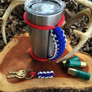 Paracord Yeti Rambler Handle Grip for 20 or 30 oz. Blue / White with free matching keychain