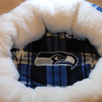 Seattle Seahawks Plaid Fleece and Sherpa Dog Bed stuffed with fluff for your pets comfort