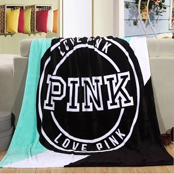 """ Pink "" Victoria Secret VS Printed Comfortable Soft Fleece Warm Travel Blanket Sofa Cover"