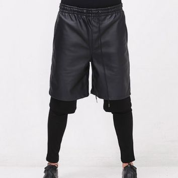 XQUARE 23 Meggings Layered Leather Shorts