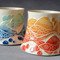 $40.00 Fish Favorite Mug Coral and Gold Blend by yogagoat on Etsy