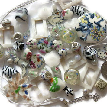 Over 65 Pcs Assorted White Multicolor Beads Pendants Charms for Jewelry Making Crafts Arts Lamp Work Glass Acrylic