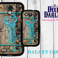 Hunting Inspired Samsung Galaxy s5 / Samsung Galaxy s4 / Samsung Galaxy s3 / Country Chic Case - Camo & Turquoise Buck and Bow (CP0203)