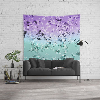 Mermaid Lady Glitter Stars #4 #shiny #decor #art #society6 Wall Tapestry by anitabellajantz