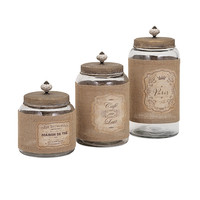 Carley Lidded Glass Jars - Set of 3