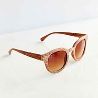 Wood Finish Round Sunglasses