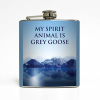 Alcohol Flask Liquid Courage My Spirit Animal Is Grey Goose Groomsmen Guys 21 Birthday Gift Stainless Steel 6 oz Liquor Hip Flask LC-1444