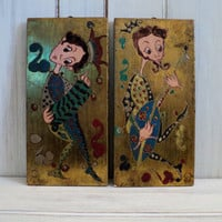 vintage mid century wall art court jester by valeriesvintagehome