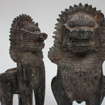 Solid Bronze Khmer Statues. Temple GuardianDogs known as 'Singha'.Rare and Vintage. Contact for similar.
