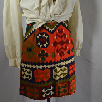 1970's Aztec Skirt Vintage Mini Skirt Tribal Print