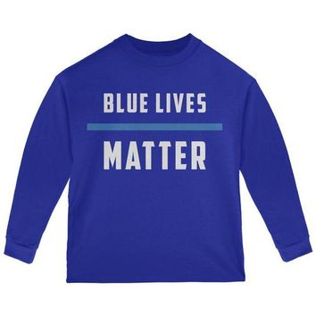 DCCKU3R Police Blue Lives Matter Thin Blue Line Toddler Long Sleeve T Shirt