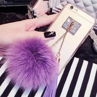 Fashion Fox Fur Ball Case For iphone 7 6 6s Plus SE 5 5s Funda Bling Diamond Pendant Tassel Phone Cases Clear Soft TPU GEL Cover