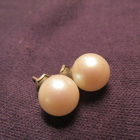 Pearl stud earrings large faux pearl silver tone metal vintage 50s bridal gift.