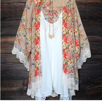 Lady Women's Fashion Floral Print Loose Long Chiffon Cardigan Top Blouse [6264468100]