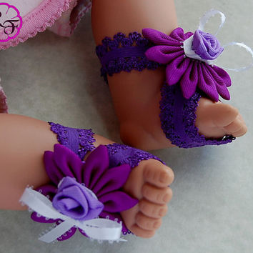 Baby barefoot sandals and baby headband , Kanzashi flower headband for babies