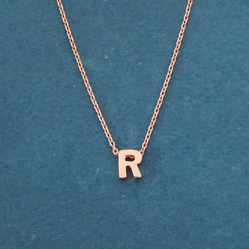 Personalized, Upper case, Initial, Letter, Rose gold, Necklace, Capital letter, Necklace, Birthday, Lovers, Best friends, Gift, Jewelry