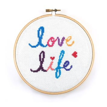 Love Life Quote Cross Stitch Pattern