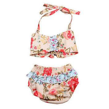 1-3Y Infant Toddler Kids Baby Girls printed Floral Halter strappy Ruffles Bikini Set Swimwear Swimsuit  Bathing Suit Beachwear
