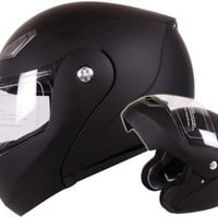 Modular Flip-up Motorcycle Helmet Matte Flat Black DOT #936 (Small)