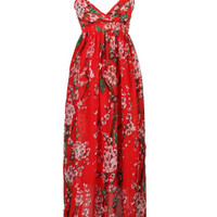 Red V-neck Plum Floral Print Frill Hem Cami Chiffon Maxi Dress