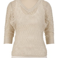 V-Neck Pointelle 3/4 Sleeve Sweater